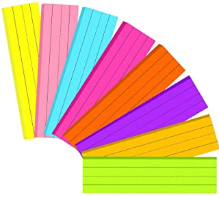 200 Sheets Ruled Rainbow Sentence Strips Lined Ruled Sentence Strips Fluorescent Paper Self Adhesive Sentence Learning Str...