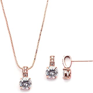 Rose Gold Round-Cut Cubic Zirconia Necklace Earrings Set for Brides, Bridesmaids & Everyday Wear