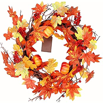 Hanizi Fall Wreaths with Maple Leafs Mini Pumpkins Berries and 10 LED Lights for Front Door Table Wall, Thanksgiving Decoration,19 Inch