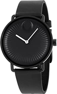 Movado Edge Black Dial Leather Strap 40 mm Mens Watch 3680039
