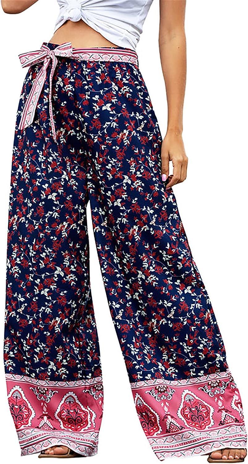 PDBQ Women's Boho Palazzo Pants Wide Leg Elastic High Waist Flowy Lounge Pants with Belt