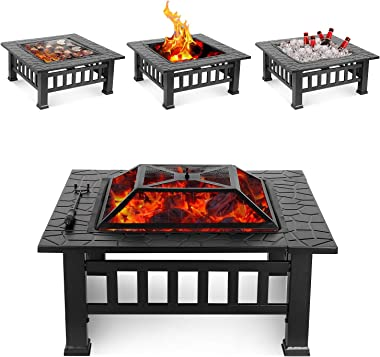 HEMBOR 32'' Outdoor Fire Pit Table, Multi-Purpose Square Fireplace, Backyard Patio Garden Outside Wood Burning Heater, BBQ, Ice Pit, with BBQ Frames&Waterproof Cover, Suitable for Party, Picnic, Camp