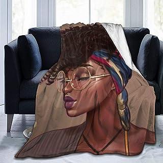 MINIOZE Hip Hop شعر أفريقي أمريكي أسود فتاة الفانيلا فلاشي كامل الصوف رمي بطانية الملكة الحجم لحاف أفخم لينة دافئ لحاف غرف...