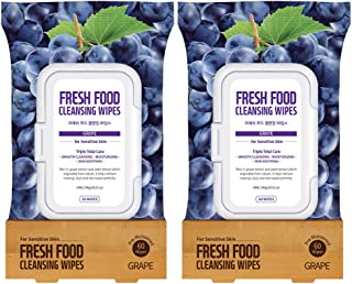 Face Wipes Makeup Remover Daily Simple Gentle Cleansing Cloth by Fresh Food for Skin (Grape, 1pk Sensitive Skin (120 Count))