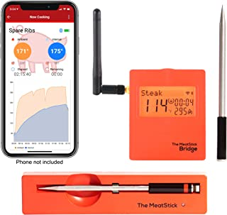 WiFi/Bluetooth Meat Thermometer Set with 2 TRUE Wireless Meat Thermometers and WiFi Bridge for BBQ, Oven, Smoker - The MeatStick - Cook meat perfectly via Bluetooth and WiFi for iOS and Android