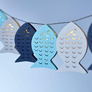 Lights4fun, Inc 10 Wooden Fish Battery Operated LED Indoor Nautical String Lights