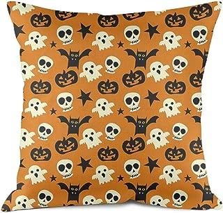 Heart Wolf Happy Halloween Pumpkin Carving Throw Pillow Covers 45x45cm Allergy Control Microfiber Breathable Cushion Cove Vintage Anti-Fading Sofa Cushion Pillowcases