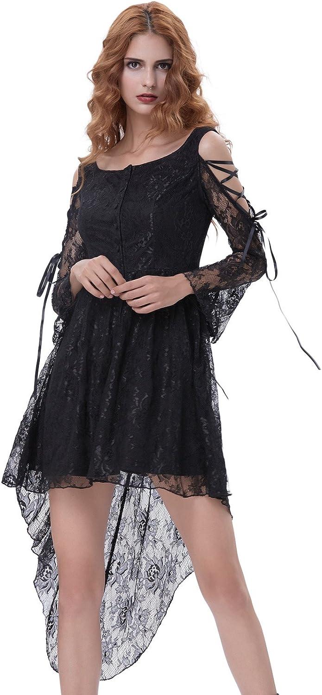 Belle Poque Fashion Steampunk Victorian Punk Prom Dresses Asymmetric Dress BP3501 M Black