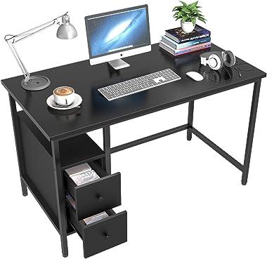 Bureau d'ordinateur avec 2 Tiroirs, GIKPAL Table de Bureau Informatique à Cadre en Acier, 120 x 60 x 75 cm Grande Table d