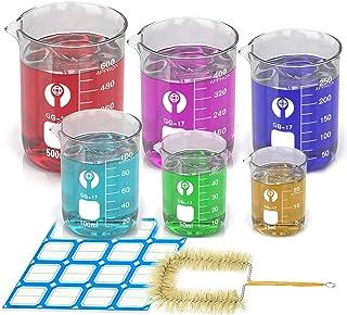 6 Pack Thick Glass Beaker Set 25ml 50ml 100ml 250ml 400ml 600ml Lab Chemistry Beakers Borosilicate Glass Graduated Measuri...