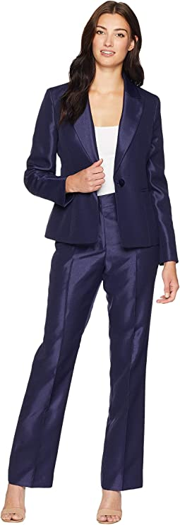 Shiny One-Button Peak Lapel Pants Suit