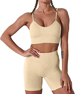 Women Seamless Yoga Set 2 Piece Workout Sport Bra with High Waist Shorts Legging Outfit Tracksuit.JNINTH