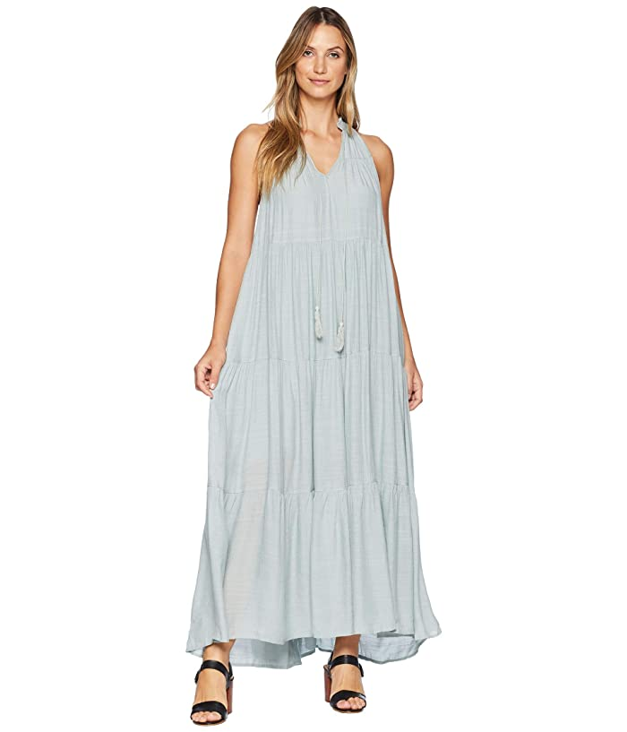 American Rose Briley Sleeveless Maxi Dress with Tassels (Blue) Women