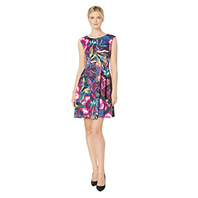 Gabby Skye Printed Scuba Fit N Flare Dress (Navy Multi) Women