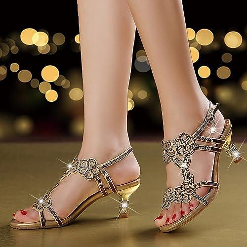 DIDIDD Les Sandales Strass D'été des Talons Hauts des Femmes Les Sandales de la Mode des Poissons de Cuir des Femmes,Violet,38