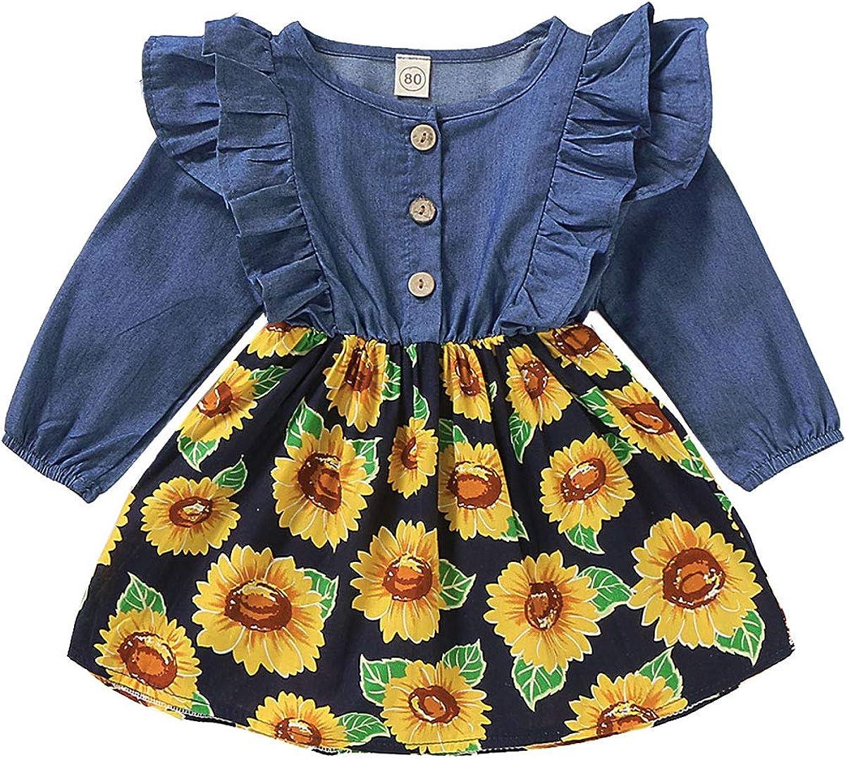 Baby Little Girls Denim Floral Sunflower Print Skirt Dresses Ruffled Long Sleeves Princess Party Wedding Flower Dresses