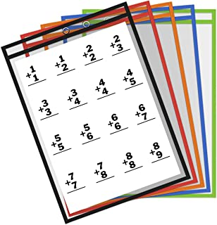Thornton's Office Supplies Oversized Learning Reusable Dry Erase Classroom Top-Load Pockets Sleeves Charts, 9 x 12 Inches (10-Count, Assorted Colors)