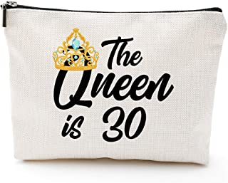 🎁Queen is 30,30th Birthday Gifts for Women boss wife mother daughter Makeup Bag, Milestone Birthday Gift for Her, Presents for Turning Thirty and Fabulous
