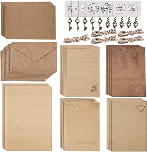 WXJ13 Lot de 5 enveloppes de papier papeterie vintage, 20 feuilles de papier à lettres, 10 enveloppes, 10 accessoires...