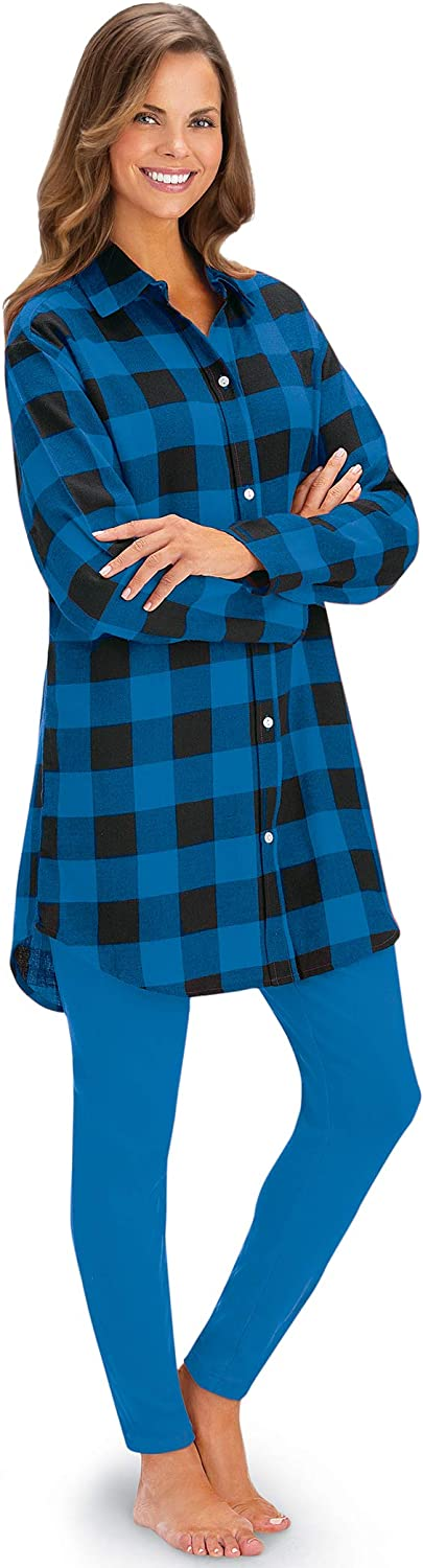 Plaid Flannel Button-Down Tunic Online limited product and Comfy Casual Leggings Knit - New product! New type