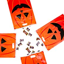 Super Z Outlet Jack-O-Lantern Orange Pumpkin Face Halloween Trick or Treat Plastic Candy Bags for Party Favors, Snacks, Decoration, Children Arts & Crafts, Event Supplies (50 Bags)