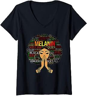 Womens Melanin Words Art Afro Natural Hair Black Woman Queen Gift V-Neck T-Shirt