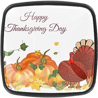 Paquet de 4 boutons d'armoire de cuisine, boutons pour tiroirs de commode Thanksgiving citrouille turquie érable feuilles ...