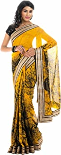Yellow Color Graphic Print Golden Border Handloom Pure Georgette Saree