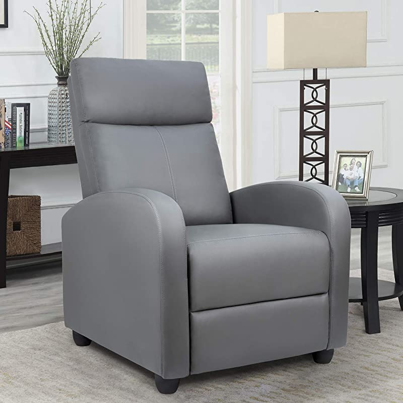 Homall Single Recliner Chair Padded Seat PU Leather Living Room Sofa Recliner Modern Recliner Seat Club Chair Home Theater Seating Gray