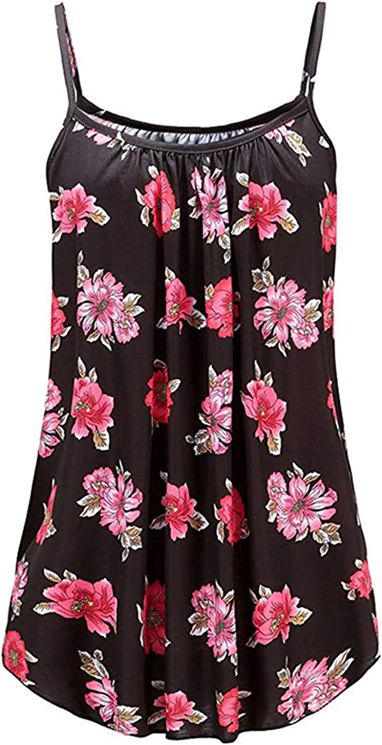 SHOPESSA Casual Tank Tops for Women Ethnic Floral Print Sleeveless Tee Shirts Pleated Tunic Tank Top Dress