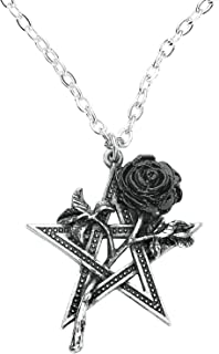 Alchemy Gothic Pentagram and Black Rose Pendant Ruah Vered 5th Element Necklace