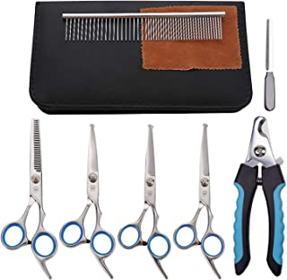 MaoCG Dog Grooming Scissors Set, Japanese Steel and Heavy Duty Safety Round Tip Grooming Tools, Professional Thinning,Curved,Straight Scissors with Comb,Grooming Shears for Dogs and Cats.