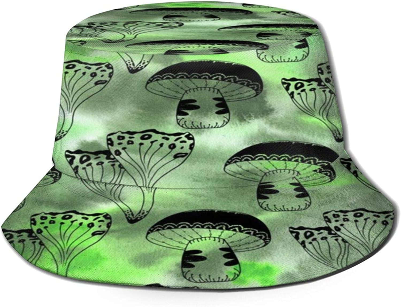 Magical Mushrooms 2021new shipping free shipping Green Pattern Bucket Summer Unisex Sun Hat Philadelphia Mall