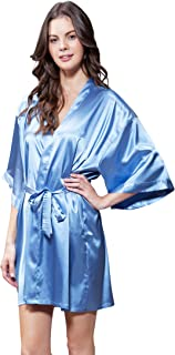 Women's Pure Color Satin Short Kimono Bridesmaids Lingerie Robes