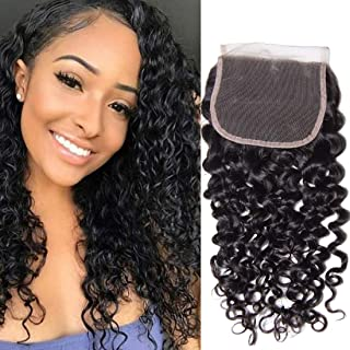 UNice Peruvian Jerry Curly Lace Closure 100% Unprocessed Human Virgin Hair 4X4 Free Part Closure 130% Density (14 inch, Natural Color)