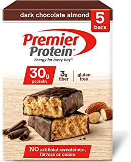 Premier Protein 30g Protein Bar, Dark Chocolate Almond, 2.53 oz Bars (Pack of 5)