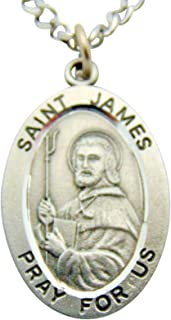 St James Solid Pewter One Inch Saint Medal with Stainless Steel Chain
