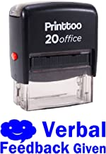 Printtoo VERBAL FEEDBACK GIVEN Self Inking Rubber Stamp Office Stationary Custom Stamp-Blue