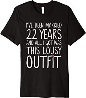 22 Years Wedding Anniversary Gift Idea for Him & Her Couples Premium T-Shirt