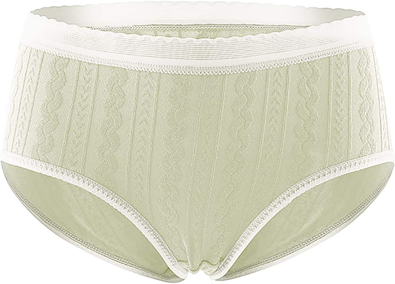 Womens Underwear Seamless Mid-Waist Lace Mesh Holes Breathable P