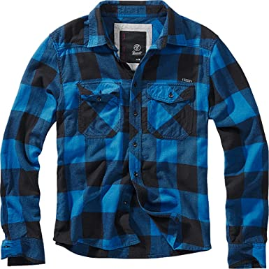 Brandit Camisa a Cuadros Hombre Camisa de Franela Negro/Azul, Labelpatch Regular