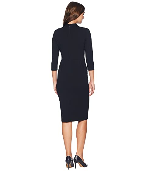 Donna Morgan Long Sleeve Crepe Sheath with Twisted Neckline Marine Navy Clearance View YVUvqH8a4