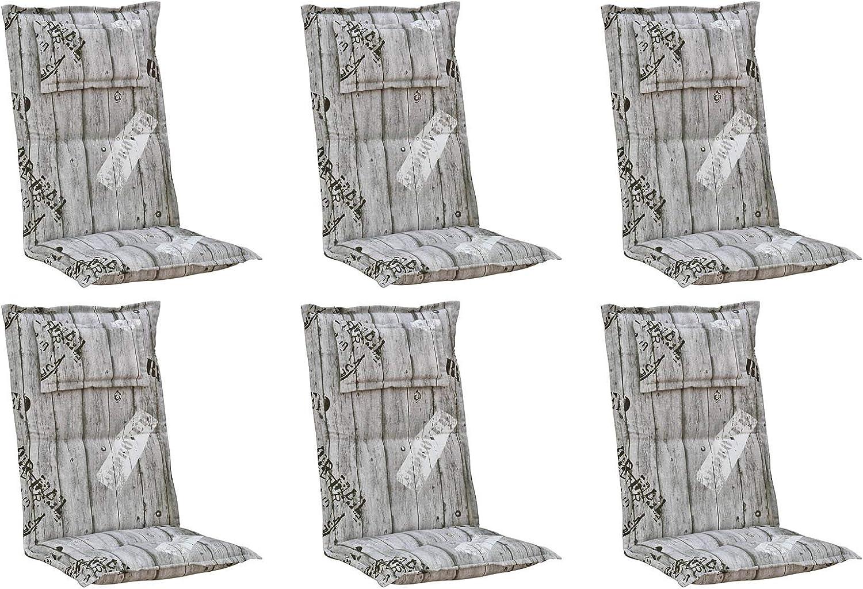 Kettler Polen K778 Gartenpolster mit Kopfkissen in grau gestreift Sessel Auflagen Polster Kissen (6)