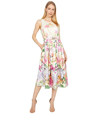 Tahari by ASL Sleeveless Metallic Jacquard Floral Garden Party Dress