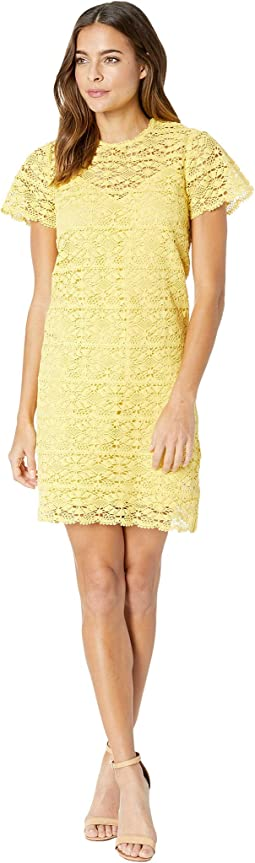 Crochet Lace Flutter Sleeve Shift Dress