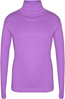 NEW Kids Girls Plain Turtle Polo High Neck Long Sleeve Crop Top Shirt Age 5-13 Y