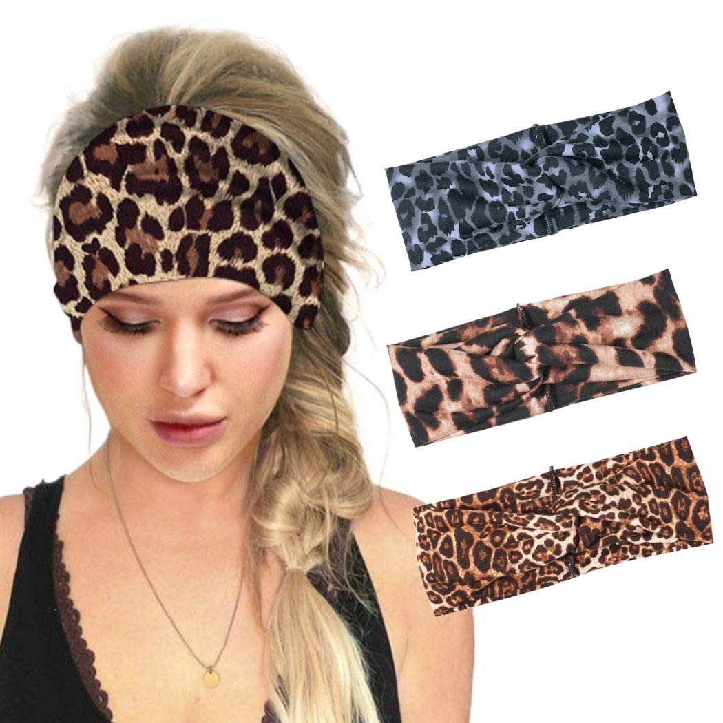 Graeen Yoga Headwear Criss Cross Hair Band Wide Headbands Leopard Hairwrap Sports Hairband Accessories for Women and Girls (Pack of 3)