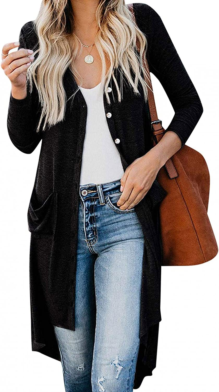 Sweaters for Women,Womens Open Front Long Sleeve Cardigans Chunky Knit Draped Sweaters Outwear with Pockets