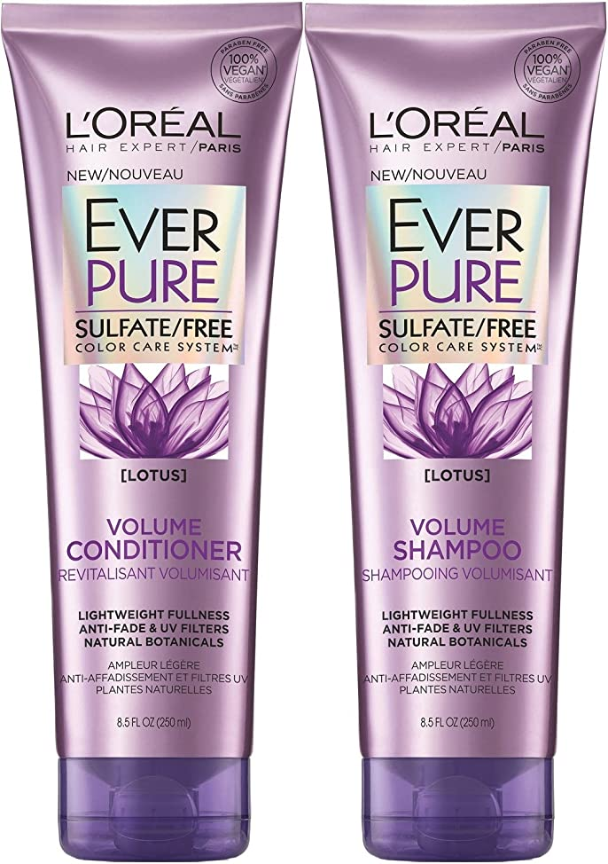 L'Oreal Paris EverPure Sulfate-Free Color Care System Volume Shampoo & Conditioner with lotus, 8.5 Ounce?Each