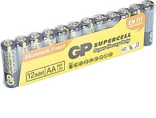 GP Batteries GP15PL Supercell R6P/1015/AA Kalem Pil, 1.5 Volt, 12'li Paket, Siyah/Sarı/Gri